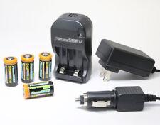 4 pcs Rechargeable CR123A 3.7V Batteries (Li-Ion) CR123 +Smart Charger 110/220V