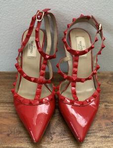Valentino Patent Red Leather Rockstud Heels 38 8