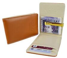Mens Brown Cream & Gold Stainless Steel Money Clip - Wallet ID Card Cash Holder