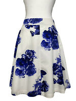 JOULES white blue floral butterflies aline skirt size 12 lined pockets