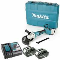 Makita DGA900 36V Brushless Angle Grinder With 2 x 4Ah Batteries, DC18RC & Case