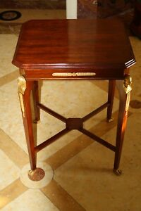 MAGNIFICENT 19C RUSSIAN NEO CLASSICAL BRONZE MOUNTED MAHOGANY TABLE 'MUST SEE'