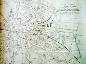 PLAN OF DUBLIN PROPOSED RAILWAY COLONNADE 1837 MAGNIFICENT OVERSIZE HARDBACK MAP