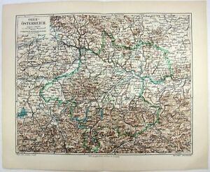 Original 1907 Map of Upper Austria by Meyers - Oberösterreich. Antique