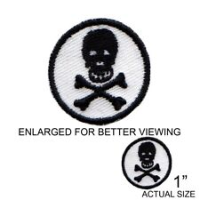 1 Inch White Black Skull Embroidered Iron On Patch - Skeleton Death Goth 207-V