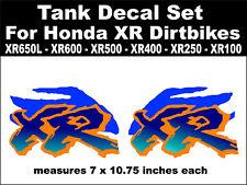 Tank decals for Honda XR650L XR600 XR500 XR400 XR250 XR100 dirtbikes  bl & or