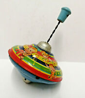 Vintage Tin Plate Chad valley childrens spinning top -Choral - full colour scene