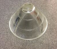 ANTIQUE ART DECO GLASS LAMP SHADE Clear Ribbed Heavy Duty Rare Free Shipping