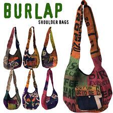 Handmade Burlap JUTE Shoulder Messenger Handbag Handbags Bag Bags Hippie JUTE
