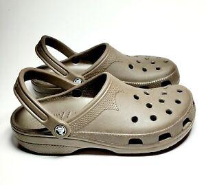CROCS Classic Taupe Slip On Shoes Clogs  Men's Size 8-9 Women's Size 9-10 GUC