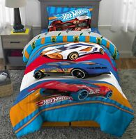 Hot Wheels Twin Bed in a Bag For Boys Car Comforter Sheet Set 4 Piece Bedding