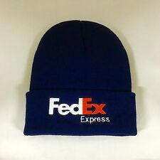 FedEx Express Beanie Hat Decky Custom Embroidery Cuffed Knit Dark Navy