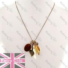 BOHO amber CHARM NECKLACE fine chain LEAF,MOP SHELL antique brass BRONZE oasis