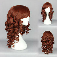 Lolita 50cm Long Curly Wavy dark brown Hair Full Wig Anime Wigs Cosplay Party
