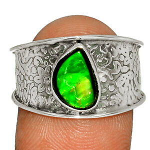 Genuine Canadian Ammolite 925 Sterling Silver Ring Jewelry s.9 BR80856 269K
