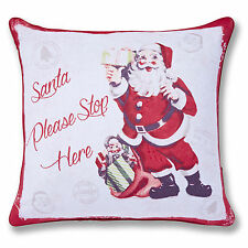 Catherine Lansfield Designer Christmas Retro Santa Red 43x43cm Cushion Cover
