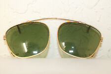 Calobar American Optical Green Glass Brass Clip On Sun Glasses Aviator Style