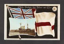 REAL-PHOTO PC:  BRITISH NAVY BATTLESHIP - HMS ROYAL SOVEREIGN - w/ WHITE ENSIGN