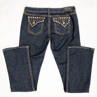 Antique Rivet Women's Sz 32 Jeans Boot Cut Crystal Embellished Bling Dark Wash