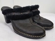Sofft Shoes size 8M black leather faux-fur heel clog womens