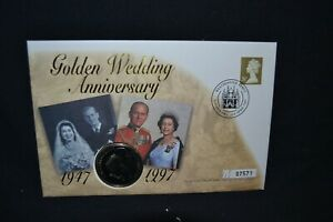 GB first day cover 1997 Golden Wedding £5 coin cover.