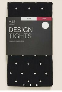 MARKS + SPENCER BLACK Diamante 180 Denier Embellished Opaque Tights SIZE S BNIP