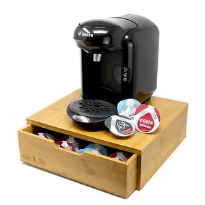 Bamboo 64 Tassimo Pod Holder Capsule Drawer & Coffee Machine Stand M&W