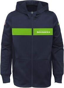 Seattle Seahawks Nike Youth Boys Sideline Full Zip Hoody Sweatshirt - Navy