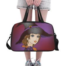 Custom Duffle Overnight Bag Beautiful Girl in Halloween Hat Weekender Travel Bag