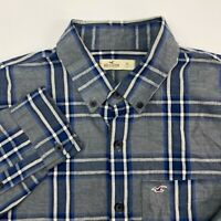 Hollister Button Up Shirt Mens XL Blue Gray Plaid Long Sleeve Casual