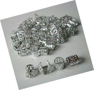 10pcs Dread Lock Dreadlocks Braiding Beads Silver Metal Cuffs Hair Accessories