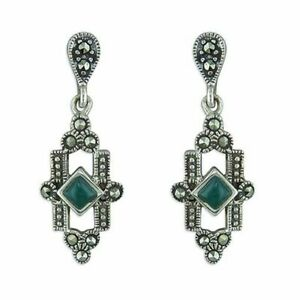 Sterling Silver Earring Art Deco Green Agate and Marcasite Drop New