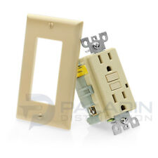 15A GFCI Receptacle Outlet w/ LED & Wallplate UL 2008 - Ivory 15 Amp [1 pc]