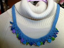 Handmade Crochet Button Handmade Necklace Purple Blue Lime Green  One of a Kind