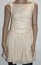 hazel Designer Peach Lace Sleeveless Day Dress Size M BNWT #sU42