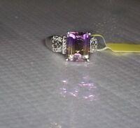 Multi-Color Ametrine Octagon Solitaire & Diamond Ring, Silver, Size 10, 6.04(TCW