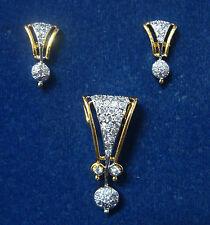 ONE GRAM GOLD PLATED PENDANT EARRINGS SET AMERICAN DIAMOND CUBIC ZIRCONA S263