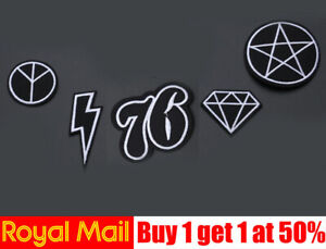 Black Badges Embroidered Iron on Patch Cool Punk Rock DIY Logo Clothes Hat Badge
