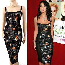 DOLCE & GABBANA D&G black bustier corset floral dot Megan Fox DRESS size 8 4 40