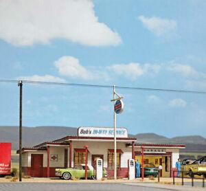 Busch (HO) #9723 1950's style GAS STATION : LASER CUT WOOD KIT - NIB