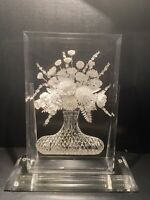 Sculpture Lucite/Acrylic Clear Resin Flower Vase Art Signed Mel Diamond
