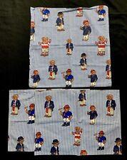 Ralph Lauren Polo Teddy Bear Lot 2 Placemats 1 Napkin Blue White Stripes