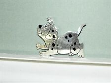 Vintage Sterling Silver Dalmatian Puppy Pin Brooch Nice Spotted Good Boy Dog 925