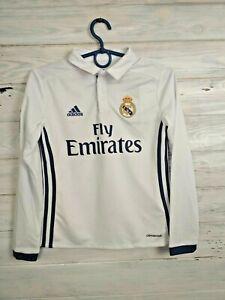 Real Madrid Jersey 2016 2017 Home 9-10 Years Long Sleeve Shirt Adidas AI5190