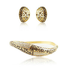 Sets 18k Gold GF Crystals Leopard Swarovski Elements Earrings Bracelet Bangle