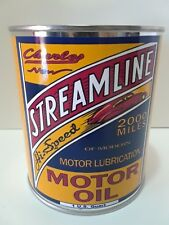 Vintage Streamline Motor Oil Can 1 qt - (Reproduction Tin Collectible)