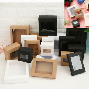 10/20X DIY Kraft Paper Gift Box Cake Package Clear PVC Window Candy Wrapping Bag