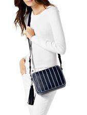 Michael Kors Shoulder Bag Brooklyn LG Sppliqué Stripe Canvas Denim New