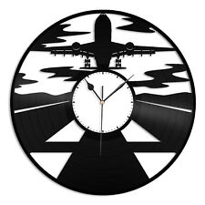 Airplane Vinyl Wall Clock Record Unique Gift for Home and Kids Room Decoration