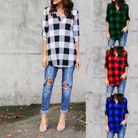 Womens Long Sleeve Plus Size Shirt Plaids Casual Autumn V Neck Loose Tops Blouse